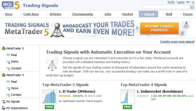 MT5 signals